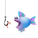 Fish Hook Bait Comic Royalty Free Stock Images
