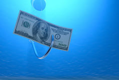 Fish hook with a banknote Royalty Free Stock Photo