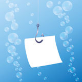 Fish Hook Blank Message Note Royalty Free Stock Photo