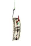 Fish hook and bloody dollar bill Royalty Free Stock Photography