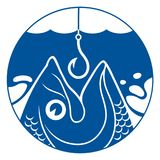 Fish and hook in circle. Vector blue fish head and fishing hook under the water Stock Images
