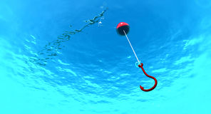 Fish hook. In clear water Royalty Free Stock Photos
