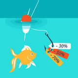 Fish on the hook. Discounts and sales. Vector illustration, which depicts the concept of attracting customers discounts and sales. For example, use image fish Royalty Free Stock Photo