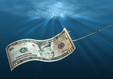 Fish hook with dollar. Fish hook with dollar note underwater Royalty Free Stock Photo