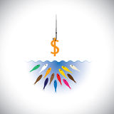Fish hook with dollar as bait for fishing-  concept. Fish hook with dollar as bait for fishing -  concept. This graphic symbol also represents strategies like Stock Photography