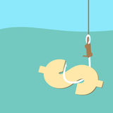 Fish hook with dollar bait. Vector illustration Royalty Free Stock Image