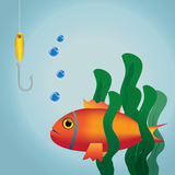 Fish with hook Royalty Free Stock Photography