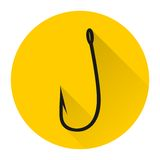 Fish hook icon with long shadow. Vector icon Royalty Free Stock Photos