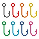 Fish hook icons set. Vector icon Royalty Free Stock Image