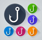 Fish hook icons with shadow. Illustration of fish hook icons with shadow Royalty Free Stock Photography