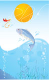 Fish and hook on light blue background. Fish and hook on light blue sky background with sun Royalty Free Stock Images