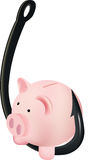Fish hook with piggy bank Royalty Free Stock Photo