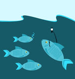Fish at the hook. In sea vector illustration