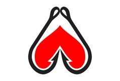 Fish hook up arrow heart logo icon. Concept design vector abstract Stock Photography