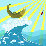 Fish on the hook. Vector fish on the hook Stock Photography