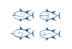 Fish and hook, vector Royalty Free Stock Images