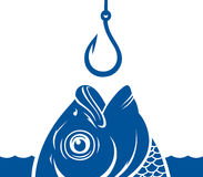 Fish and hook. Vector blue fish head and fishing hook on the water background Stock Images