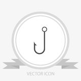 Fish hook vector icon. On grey background Stock Image