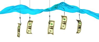 Fish hooks with bait money. Hooks dangling money to catch gullible people phishing scam Stock Images