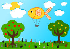 The fish hot air balloon and the hungry cats. Funny cartoon illustration Stock Images