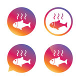 Fish hot sign icon. Cook or fry fish symbol. Royalty Free Stock Image