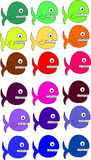 Fish. Hundreds of colorful cartoon funny fish Stock Photography