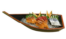 Fish on ice in sashimi boat Royalty Free Stock Photography