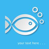 Fish icon. White fish icon with bubbles on blue background Royalty Free Stock Photo