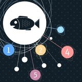 Fish icon with the background to the point and infographic style. Fish icon with the background to the point and with infographic style. illustration Royalty Free Stock Photography