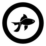 Fish icon black color in circle. Vector illustration isolated Royalty Free Stock Photos