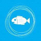 Fish icon on a blue background with abstract circles around and place for your text. Illustration Royalty Free Stock Photo