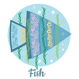Fish Icon on blue background. Vector colorful flat illustration Stock Photo