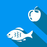 Fish Icon. Blue and white  illustration symbol Stock Images