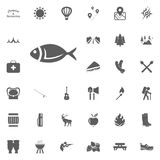 Fish icon. Camping and outdoor recreation icons set.  Stock Image