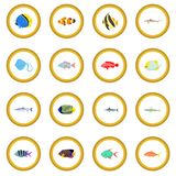Fish icon circle. Cartoon isolated vector illustration Royalty Free Stock Images