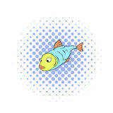 Fish icon in comics style Stock Image
