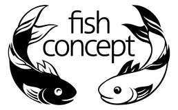 Fish Concept Icon. A fish icon concept symbol with two fish possibly koi carp Royalty Free Stock Photos
