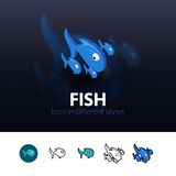 Fish icon in different style. Fish color icon, vector symbol in flat, outline and isometric style isolated on blur background Royalty Free Stock Image