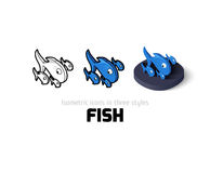 Fish icon in different style. Fish icon, vector symbol in flat, outline and isometric style Royalty Free Stock Photos