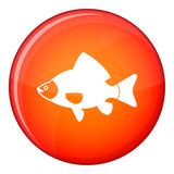 Fish icon, flat style. Fish icon in red circle isolated on white background vector illustration Stock Image