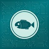 Fish icon on a green background, with arrows in different directions. It appears the electronic board. Fish icon on a green background, with arrows in different Royalty Free Stock Image