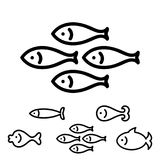 Fish Icon or logo. Collection Isolated on White. Simple Black Sea Animal Symbol in Thin Line Style Stock Photos