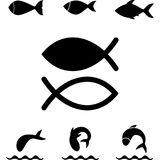 Fish icon or logo. Isolated. Simple black  symbol Stock Image