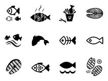 Fish icon. Or logo set . Simple black fish symbols collection Stock Images