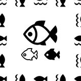 Fish icon or logo. Set . Simple black fish symbols collection Stock Images