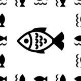 Fish icon or logo. Set . Simple black fish symbols collection Royalty Free Stock Photos
