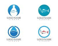 Fish icon logo vector template.  Royalty Free Stock Photo