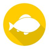 Fish icon with long shadow Stock Photo