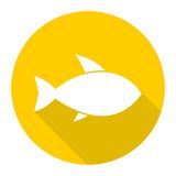 Fish icon with long shadow. Vector icon Stock Image