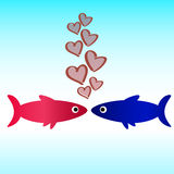 Fish icon love wallpaper Royalty Free Stock Photography